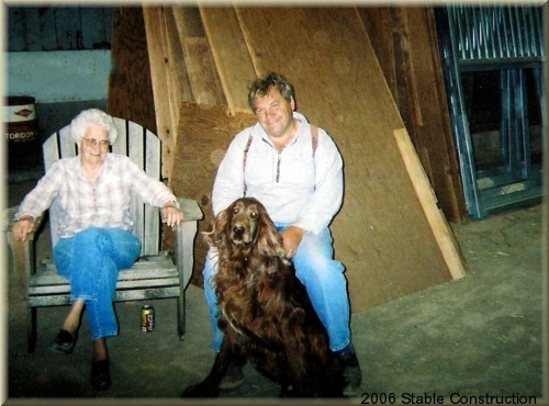 John and his Mother in the barn with Buster - Contruction Zone